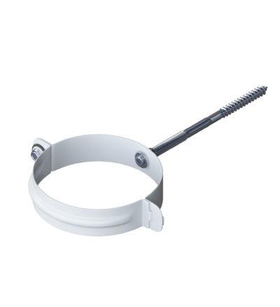 Хомут трубы металлический Стандарт Белый